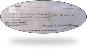 PCI First cheque