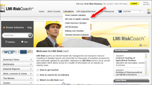 Screen shot of LMI RiskCoach showing the location of the ISR Limit of Liability calculator