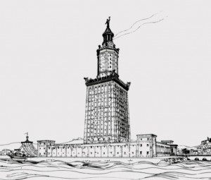 The archaeologist Hermann Thiersch's 1918 drawing of  the Pharos of Alexandria