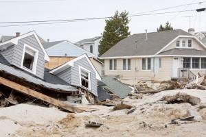 LAVALLETTE, NJ - JAN 13: The remnants of homes destroyed after H