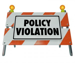Policy Violation road construction barrier sign warning rule reg