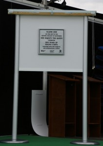 Plaque unvielled by the Queen to mark the 800th anniversary of the sealing of the Magna Carta